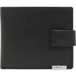 Vault Men's Metal Tab RFID Blocking Flap & Coin Leather Wallet Black M2010