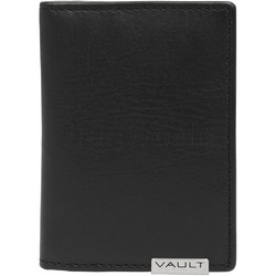 Vault Men's Metal Tab RFID Blocking Slimline Leather Cardholder Black M2013