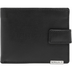 Vault Men's Metal Tab RFID Blocking Top Flap & Tab Leather Wallet Black M2023