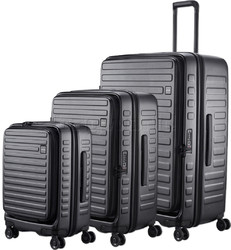 Lojel Cubo Hardside Suitcase Set of 3 Black JCU55, JCU65, JCU78 with FREE Lojel Luggage Scale OCS27