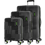 American Tourister Velton Hardside Suitcase Set of 3 Black 24732, 24731, 24734 with FREE Samsonite Luggage Scale 34042