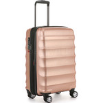 Antler Juno Metallic DLX Small/Cabin 56cm Hardside Suitcase Rose Gold 71258