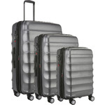Antler Juno Metallic DLX Hardside Suitcase Set of 3 Charcoal 71015, 71016, 71258 with FREE GO Travel Luggage Scale G2006