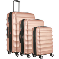 Antler Juno Metallic DLX Hardside Suitcase Set of 3 Rose Gold 71015, 71016, 71258 with FREE GO Travel Luggage Scale G2006