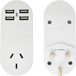 Samsonite Travel Accessories Adaptor Plug USB x 4 Australia to UK & HK White 86347