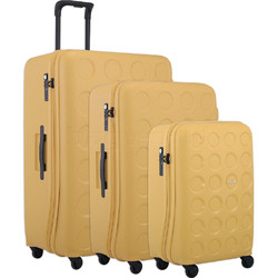 Lojel Vita Hardside Suitcase Set of 3 Yellow Ochre JVI55, JVI70, JVI80 with FREE Lojel Luggage Scale OCS27