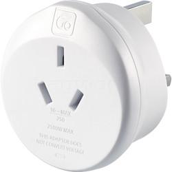 GO Travel Adaptor Plug Australia to UK White GO560