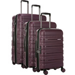 Antler Juno 2 Hardside Suitcase Set of 3 Aubergine 42215, 42216, 42219 with FREE GO Travel Luggage Scale G2006