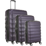 Antler Juno Metallic DLX Hardside Suitcase Set of 3 Aubergine 71015, 71016, 71258 with FREE GO Travel Luggage Scale G2006