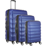 Antler Juno Metallic DLX Hardside Suitcase Set of 3 Blue 71015, 71016, 71258 with FREE GO Travel Luggage Scale G2006