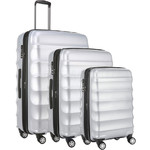 Antler Juno Metallic DLX Hardside Suitcase Set of 3 Silver 71015, 71016, 71258 with FREE GO Travel Luggage Scale G2006