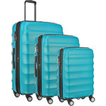 Antler Juno Metallic DLX Hardside Suitcase Set of 3 Teal 71015, 71016, 71258 with FREE GO Travel Luggage Scale G2006