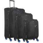 Antler Clarendon Softside Suitcase Set of 3 Black 45858, 45816, 45815 with FREE GO Travel Luggage Scale G2006