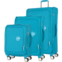 American Tourister Curio SS Softside Suitcase Set of 3 Turquoise 22702, 22701, 22700 with FREE Samsonite Luggage Scale 34042