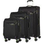 American Tourister Applite 4 Security Softside Suitcase Set of 3 Black 30960, 30961, 30962 with FREE Samsonite Luggage Scale 34042