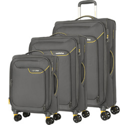 American Tourister Applite 4 Security Softside Suitcase Set of 3 Lightning Grey 30960, 30961, 30962 with FREE Samsonite Luggage Scale 34042