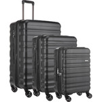 Antler Clifton Hardside Suitcase Set of 3 Black 45719, 45716, 45715 with FREE GO Travel Luggage Scale G2006