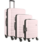 Antler Clifton Hardside Suitcase Set of 3 Pale Pink 45719, 45716, 45715 with FREE GO Travel Luggage Scale G2006
