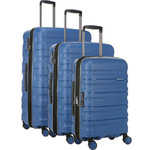 Antler Juno 2 Hardside Suitcase Set of 3 Blue 42215, 42216, 42219 with FREE GO Travel Luggage Scale G2006