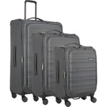 Antler Portland Softside Suitcase Set of 3 Charcoal 60958, 60916, 60915 with FREE GO Travel luggage scale G2006
