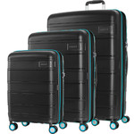 American Tourister Litevlo Hardside Suitcase Set of 3 Black 31504, 31505, 31506 with FREE Samsonite Luggage Scale 34042