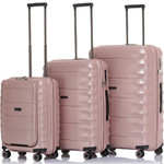 Qantas Dallas Hardside Suitcase Set of 3 Rose Gold 38055, 38065, 38075 with FREE GO Travel Luggage Scale G2006