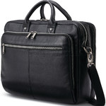 "Samsonite Classic Leather 15.6"" Laptop & Tablet Toploader Briefcase Black 26039"