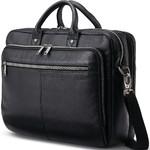 """Samsonite Classic Leather 15.6"""" Laptop & Tablet Toploader Briefcase Black 26039"""