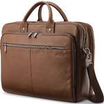 "Samsonite Classic Leather 15.6"" Laptop & Tablet Toploader Briefcase Cognac 26039"