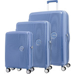 American Tourister Curio Hardside Suitcase Set of 3 Denim Blue 87999, 86229, 86230 with FREE Samsonite Luggage Scale 34042